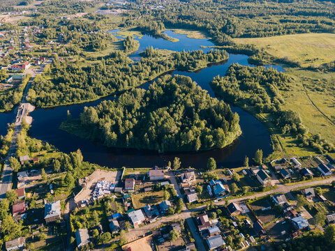 Russia, Leningrad Oblast, Tikhvin, Aerial view of town on bank ofTikhvinka river in summer