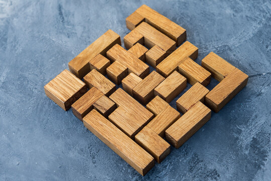 Assembled pieces of wooden puzzle