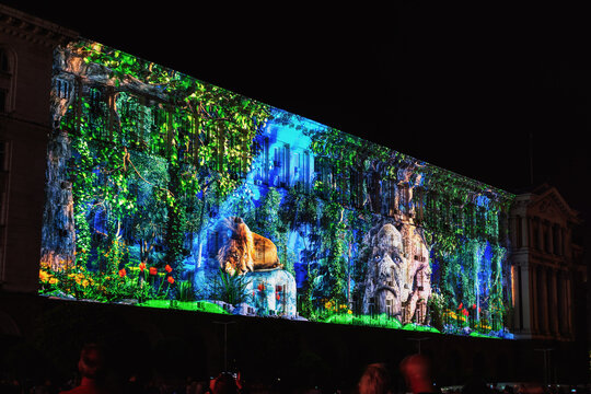 SOFIA, BULGARIA - MAY 9, 2018: Building of Council of Ministers in Sofia, Bulgaria. 3D Projection Mapping for the Day of Europe