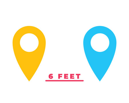 Social Distancing Keep Your Distance or Maintain a Distance of 6ft or 6 Feet Icon. Vector Image.