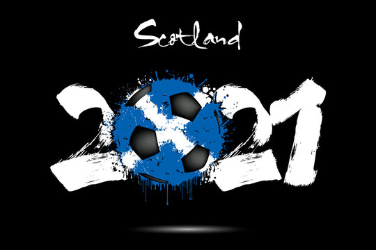 Abstract numbers 2021 and soccer ball painted in the colors of the Scotland flag in grunge style. Figures 2021 and flag of Scotland in the form of a soccer ball made of blots. Vector illustration