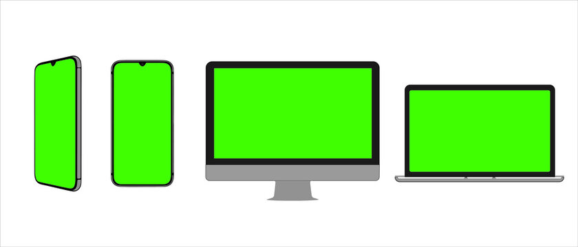 Three devices with green screen mockup. Smartphone in two positions, computer and laptop with place for advertising, copy space. Modern gadgets with chromakey space on screen.