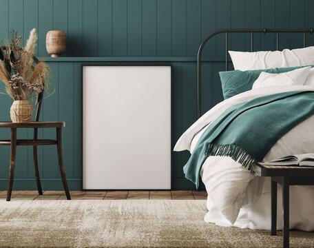 Mockup frame in cozy dark blue bedroom interior background, farmhouse style, 3d render
