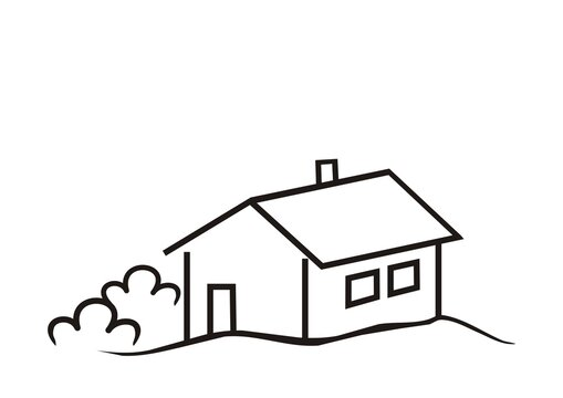 House with door and windows, shrub, black vector icon
