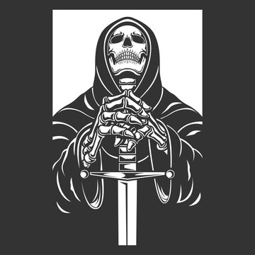 grim reaper with sword character vector illustration. black and white