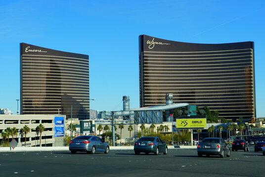 Las Vegas, Nevada, U.S - January 1, 2019 - The view of Wynn and Encore Hotel Casino on Las Vegas Boulevard