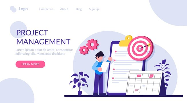 Project management flat concept vector. project management software, waterfall method, agile methodology, IT professional. Business analysis, planning process. Modern illustration.