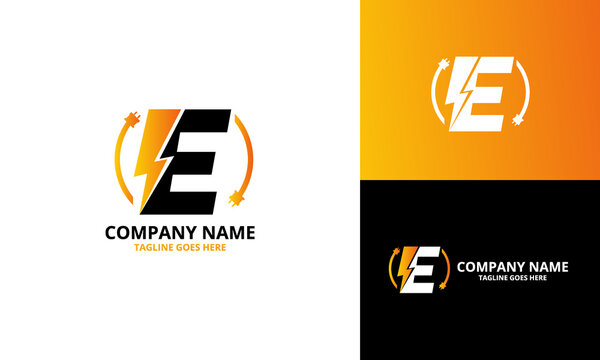 Flash initial letter E Logo Icon Template. Illustration vector graphic. Design concept Electrical Bolt With letter  symbol. Perfect for corporate, technology, initial , more technology brand identity