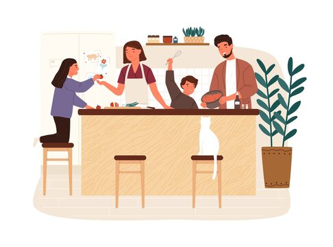 Happy family cooking dinner together in modern kitchen vector flat illustration. Parents and kids preparing lunch isolated on white. Mother, father, daughter and son spending time at home