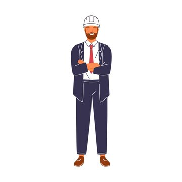 Smiling construction foreman in suit and hard hat vector flat illustration. Portrait of happy male architect or engineer isolated on white background. Friendly building executive or manager