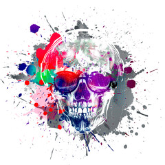 skull with splashes