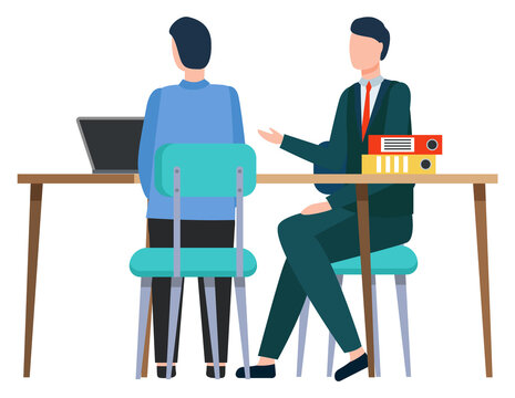 Man and worker sitting by table discussing business issues. Boss and employee with laptop brainstorming on meeting. Partners of company considering cooperation of organization. Vector in flat