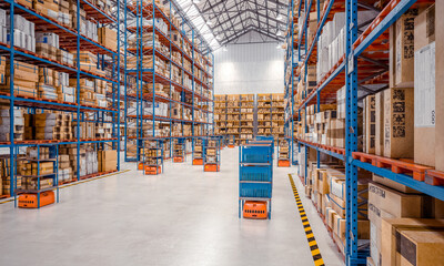 interior of a modern warehouse where automated goods transport vehicles work. Wall mural