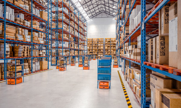 interior of a modern warehouse where automated goods transport vehicles work.