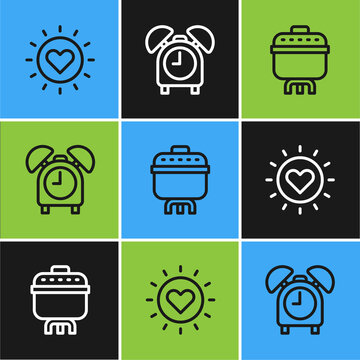 Set line Sun, Cooking pot and Alarm clock icon. Vector.