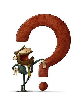 businessman leaning on a big red question mark. isolated