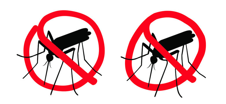 Stop malaria, zika or dengue. Caution, warning mosquitos drinking blood. World mosquito day. Flat vector signaling. Insect bite, blood infection ( illness ). Spread malaria virus fever alert.