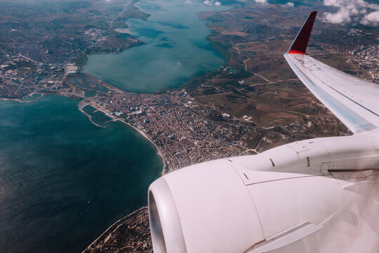An aircraft landing in Istanbul, Turkey
