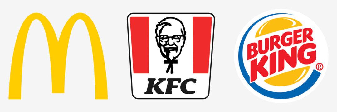 McDonalds, KFC, Burger King. Cafe icon. McDonalds logo. KFC symbol. Burger King vector icon. Editorial illustration. Rivne, Ukraine - December 22, 2020.