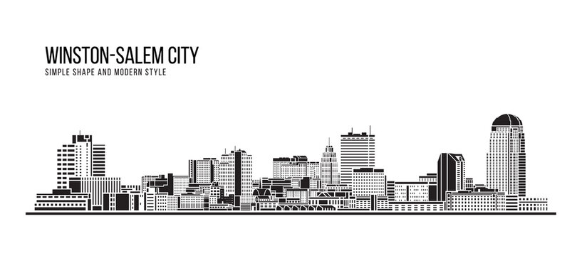 Cityscape Building Abstract Simple shape and modern style art Vector design - Winston-Salem city