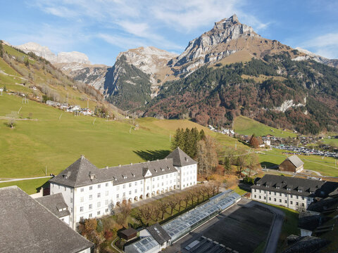 Aerial view at the convent of Engelberg in the Swiss Alps