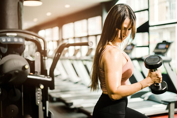 A brown haired Asian woman lifting dumbbells and looking at the muscles of her arm in a fitness gym. Wall mural
