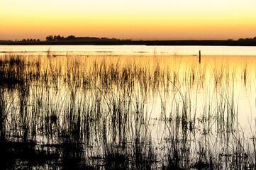 Entardecer em lago no pampa, Lincoln, Buenos Aires, Argentina, foto de Zé Paiva, Vista Imagens.