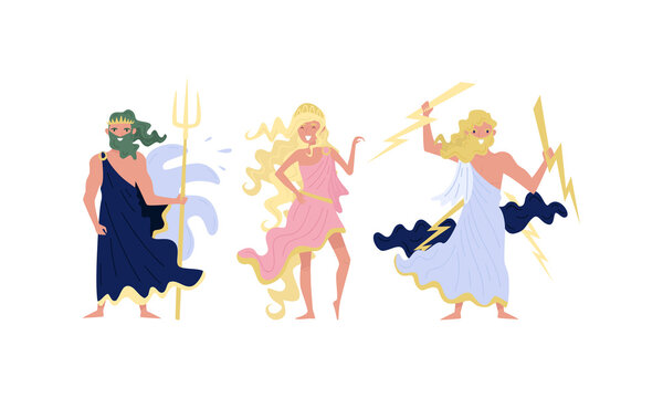 Greek Gods and Goddess with Zeus Holding Lightnings and Poseidon with Trident Vector Set