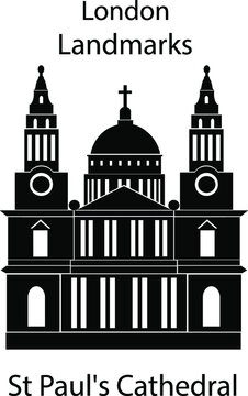 London landmarks in black and white colors. London city illustration, Saint Paul's Cathedral.