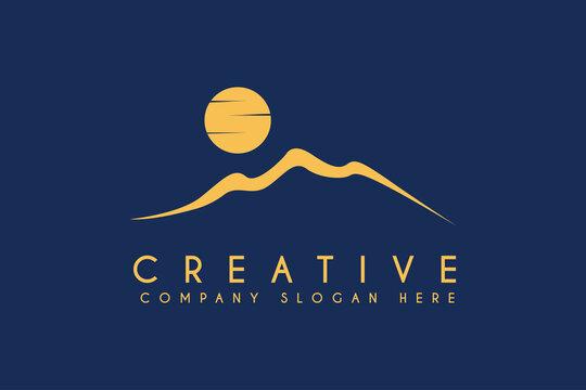Desert logo design with moon or sun vector illustration. Desert with moon or sun business logos template element design
