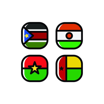 National Flag Square Icon Set with South Sudan, Niger, Guinea Bissau And Burkina Faso