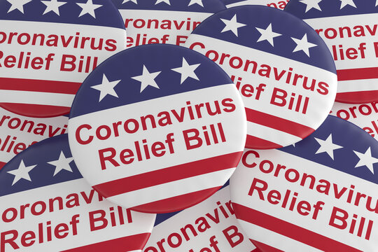 USA Politics Badges: Pile of Coronavirus Relief Bill Buttons With US Flag, 3d illustration