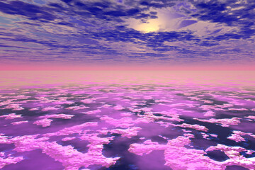 abstract landscape purple ground fog sky with sun