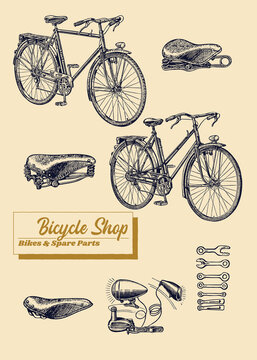 Bicycle Shop Bike and Spare Parts vintage illustration of bikes , saddles and tools