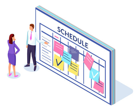 Company business team working together planning and scheduling their operations agenda on a big calendar. Fixing marks with pencil standing near schedule. Man and woman doing planning events
