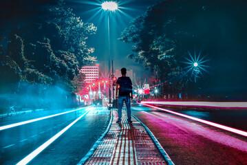 light trails in the street Fotomurales
