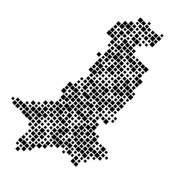 Pakistan map from pattern of black rhombuses of different sizes. Vector illustration.