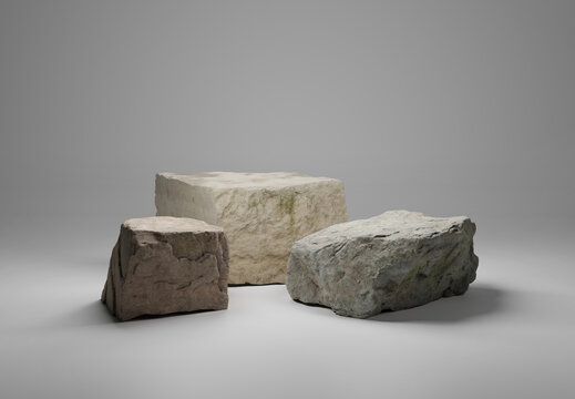 Podium platform for product presentation made of three big rocks. Podium display set. Trendy minimalist banner. 3d illustration. 3D render.