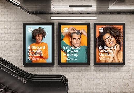 3 Billboards Hanging on Underground Wall Mockup