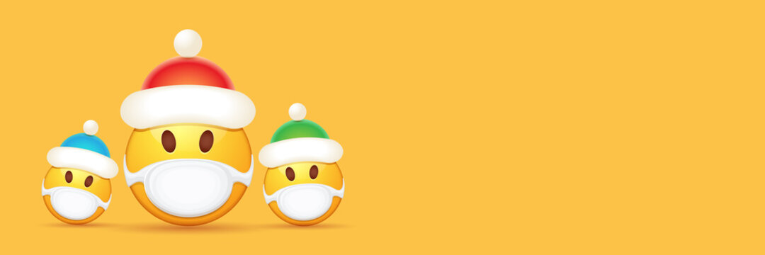 Vector Christmas horizontal banner with funky Emoji sticker with mouth medical protection mask and santa claus red hat isolated on orange background. Yellow santa doctor smile face character set