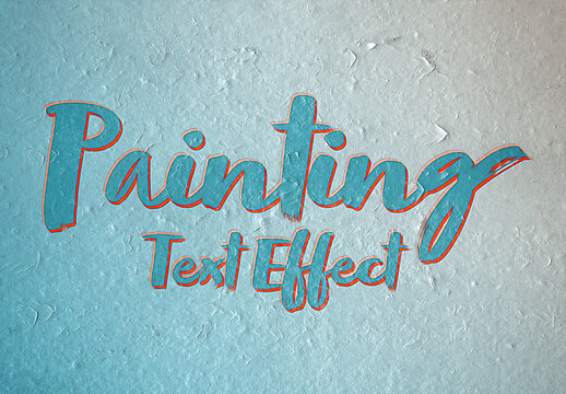 Oil Paint Text Effect on Wall Surface Mockup