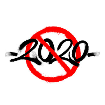 Cross out sprayed 2020 tag graffiti with overspray in black over white. Vector illustration.