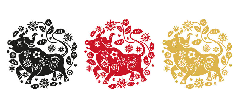 set of 3 illustrations in black, red and gold. bull as a symbol of the new Chinese year 2021.