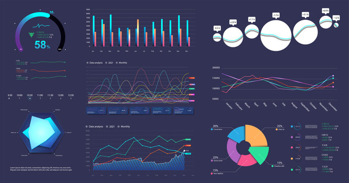 Modern infographic marketing data presentation. Graphic, circle infochart, diagram, online statistics, data analytics and other colorful elements for presentation, UI, UX, Web. Vector graphics set