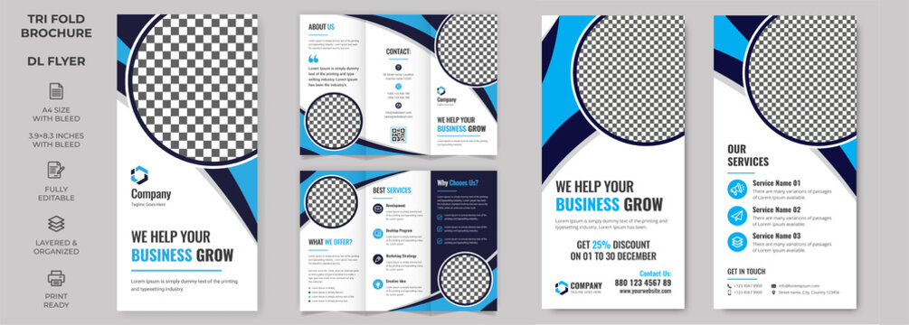 Vector Tri-fold Brochure and Rack Card Corporate DL FlyerTemplate, simple style and modern layout