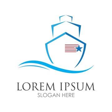 Cruise ship logo images illustration design