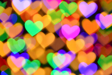 colorful hearts illumination for holiday or abstract boke background