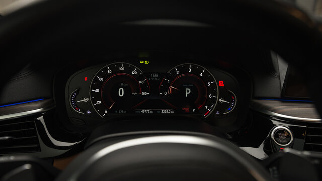 Close up image of car dashboard. Interior detail. Car Speedometer.