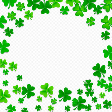Frame of green shamrock and clover background with blank copy space, St. Patrick's Day celebration and irish symbol, vector illustration.