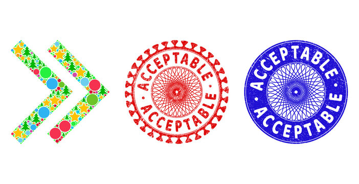 Shift right composition of Christmas symbols, such as stars, fir-trees, color round items, and ACCEPTABLE textured stamp seals. Vector ACCEPTABLE seals uses guilloche ornament,